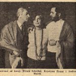 """photo of Witold Schejbal, Krystyna Dygat and Peter Paul Koprowski during the production of """"Apetyt na czeresnie"""""""