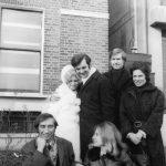 photo of Peter with Ewa Zamkowska, author Maurice Rowdon, sculptor Annette Rowdon (at the back), Vladek Sheybal and Marina Mahler, London, England 1971