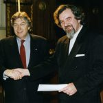 photo of Peter Koprowski receiving second Jules Leger Prize with Canadian author Roch Carrier in Montreal, Canada, 1994