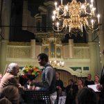 photo of Peter Koprowski with conductor Daan Admiraal, VU-Kamerorkest and soloist Stanislav Jusufovic following performance of Accordion Concerto in Amsterdam, Netherlands, 2008