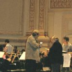 photo of Peter Paul Koprowski with Vincent La Selva during the rehearsal of Elegia for Polish Youth at Carnegie Hall, New York, USA 2006