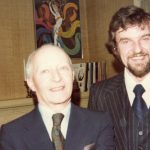 photo of Peter Koprowski with composer Witold Lutoslawski in Toronto, Canada, 1980