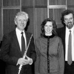 photo of Peter Koprowski with flutist Per Oien and mezzo-soprano Berit Opheim in Oslo, Norway following performance of Three Poems on a Winter Day