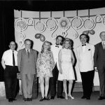 """photo of Peter Paul Koprowski with colleagues after the premiere of """"Ladne kwiatki"""" of a cabaret Rozowy Balonik, London 1970"""